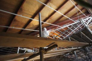 天井と鉄骨梁
