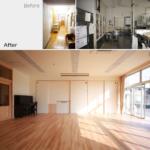 ビフォーアフター 廊下・給食室→小ホール